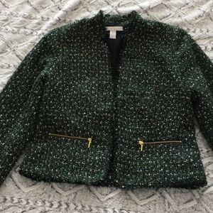 Chico's Green/Black/Gold Tweed Jacket zip pockets